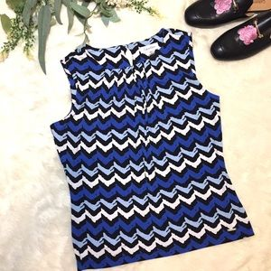 Calvin Klein Pleat Neck Jersey Shell Blue Print